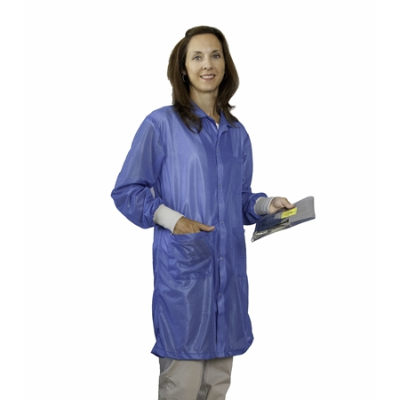 StatStar ESD Lab Coat with ESD Cuffs, Lightweight Blue Fabric