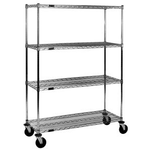 Eagle CC1836C-S Chrome Wire Shelving Stem Caster Cart, 18