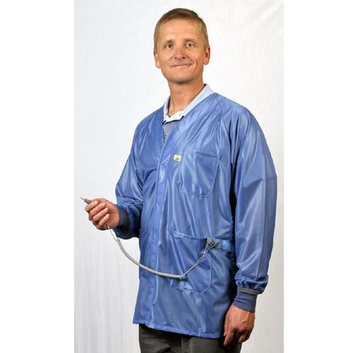 Tech Wear X2-HOJ-23C Lightweight ESD V-Neck Lab Coat for Dual Conductor Wrist Straps, Blue