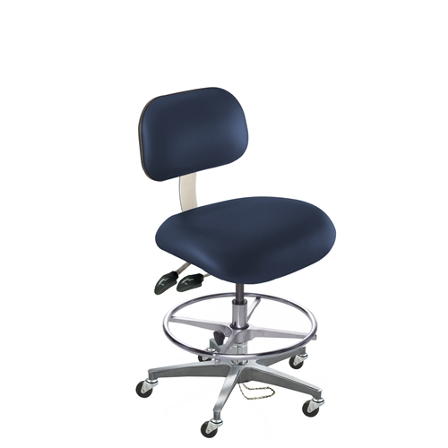 BioFit Eton Series ESD Chair with Conductive Casters, Cast Aluminum Base, High Bench