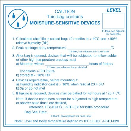 SCS 113LABEL Caution Moisture Sensitive Devices Label, 4