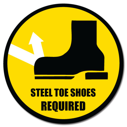 Durastripe Floor Safety Sign Steel Toe Shoes Required